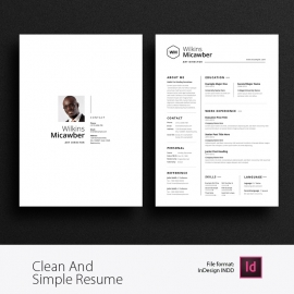 Simple Resume Or CV With Cover Letter And Portfolio Layout
