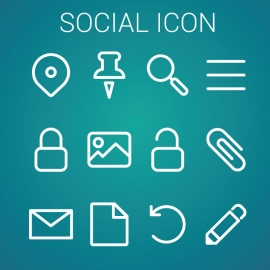 Social Icon With Blue Background