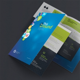 Social Media Bifold Brochure with Social Icons & Blue Background