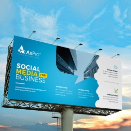 Social Media Billboard Banner With Blue Accent