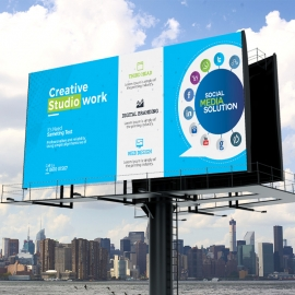 Social Media Billboard Sinage with Social Icons