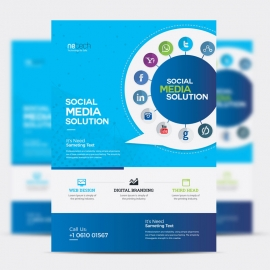 Social Media Flyer with Social Icons & Blue Background
