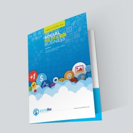 Social Media Presentation Folder With Blue Orange Concepts