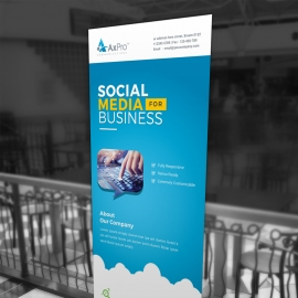 Social Media Rollup Banner With Blue Accent