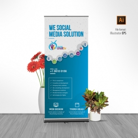 Social Media Rollup Banner with Social Icons