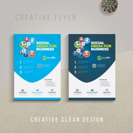 Social Media Service Flyer With Blue Cyan Accent