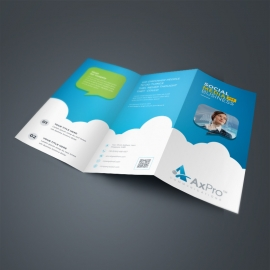 Social Media TriFold Brochure With Blue Accent