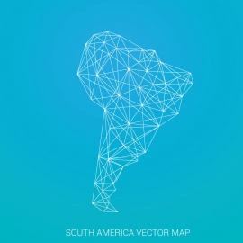 South America Map by Poligonal Stroke
