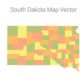 South Dakota Map Colorful Vector Design