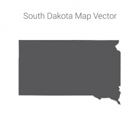 South Dakota Map Dark Vector Design