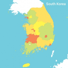 South Korea Map Colorful Vector Design