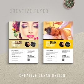 Spa Salon Flyer With Yellow Accent