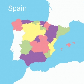 Spain Map Colorful Vector Design