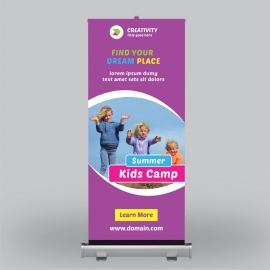 Summer Kids Camp Roll-Up Banner