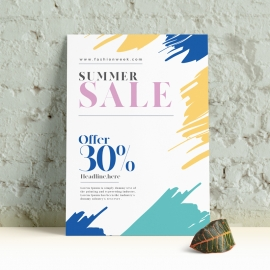 Summer Sale Flyer With Brush Style