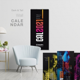 Tall Black Wall Calendar 2021 - New Year