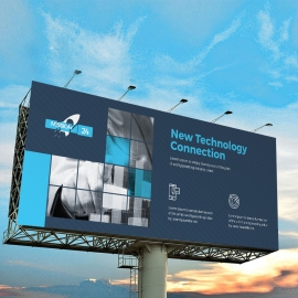 Technology Billboard Banner With Black Blue Accent