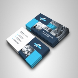 Technology Business Card With Blue & Black Accent