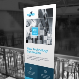 Technology Rollup Banner With Boxs