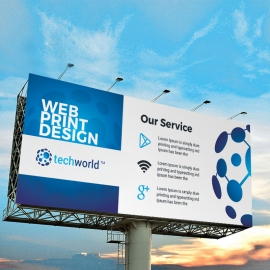 Technology World Billboard Banner With Blue Accent