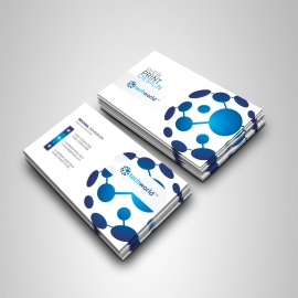 Technology World Business Card With Blue Accent