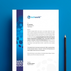 Technology World Letterhead Blue Accent