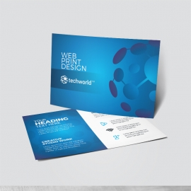 Technology World Post Card Blue Accent