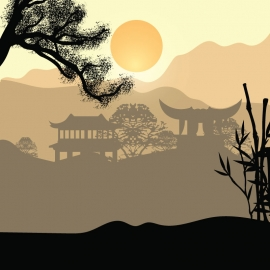 The Beautiful Asian Landscape Vector