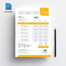 The Clean Orange Color Invoice Template