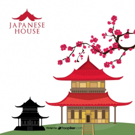 Japanese House Asian Architecture Vector