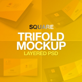 Square Trifold Brochure Mockup Set