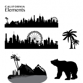 California Elements Skyline & Mountain Vector