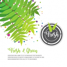 Fresh & Green Decorative Leaves & Vintage Badge