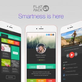 Flat Dark UI Kit PSD & Vector Pack