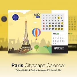 Paris Cityscape Calendar