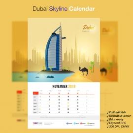 Dubai Skyline Travel Calendar