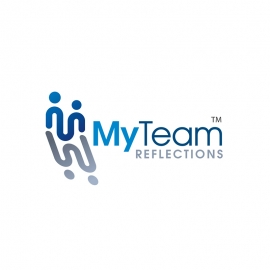 M Letter & Team People with Reflection Logo