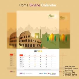 Rome Skyline Travel Calendar