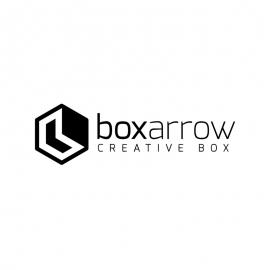 Polygon Rectangle Box & Arrow Minimal Creative Black Logo