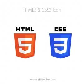 HTML5 & CSS3 Web Coding Vector Icon