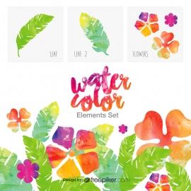 Watercolor Design Elements Set | Water color leaf & flower