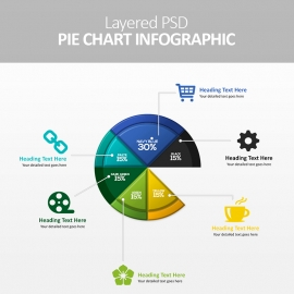 Pie Chart Layered PSD Infographic
