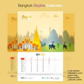 Bangkok Skyline Travel Calendar