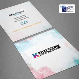 Corporate Water Color Square Business Card