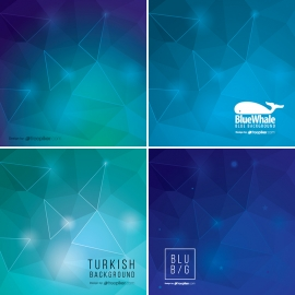 Blue Abstract Background Collection with Geometric Shapes