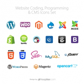 Website Programming All CMS Vector Icons Set
