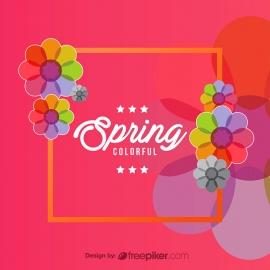 Colorful Spring Floral Banner Design Elements