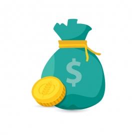 Money Bag with Golden Coin Financial Icon