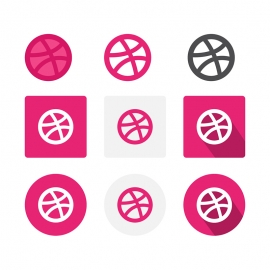 Dribbble Social Media Icon Vector Icons