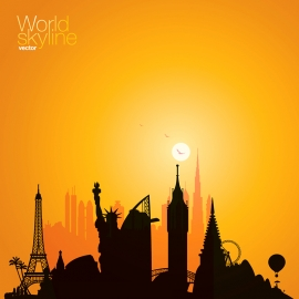 World Skyline World Cityscape Vector